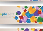 3 Colorful Cube & Circle Abstract Banners