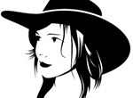 Cute Cowgirl With Hat Vector Silhouette