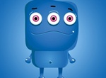 Blue 3 Eyed Monster Vector Cartoon Icon