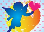 Silhouette Cupid Heart Vector