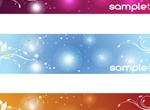 3 Color Floral Swirl Banners Vector