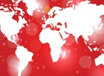 Illuminated Red World Map Vector