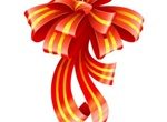 Striped Festive Gift Bow & Ribbon Vector