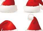 4 Realistic Santa Claus Vector Hats Set