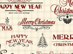 Vintage Christmas Text Elements Vector Set