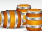Realistic Wooden Barrels Vector Graphic
