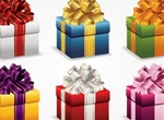 6 Christmas Gift Wrapped Boxes Vector Set