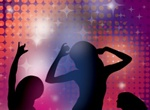 Silhouette Girls Dancing Party