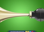Old Style Glossy Brass Vector Car Horn