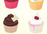 6 Yummy Vector Cupcakes