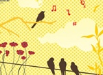 Singing Birds Silhouette Bamboo Vector