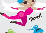 3 Flying Tweet Girls With Wings Vector Set
