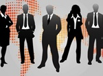 Business People Silhouette World Map Background