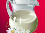 Gleaming Glass Pitcher Of Milk With Daisies Vector