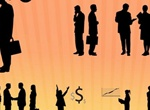 Working Business Men & Women Vector Silhouettes
