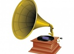 Old Gramophone Record Player Vector Graphic