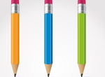 3 Crisp Colorful Pencil Illustrations Set