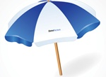 Blue And White Umbrella Vector Graphic