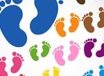 13 Colorful Baby Footprints Vector Set