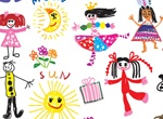 Colorful Children's Drawings Vector Set