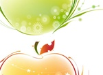 2 Floral Glow Abstract Apples Vector Set