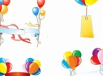 Colorful Party Balloons With Banners Vector Set