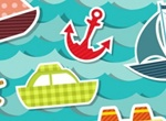 Colorful Cutout Ocean Transport Stickers Vector Set