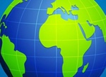Blue Grid Globe With Green Continents Overlay Vector