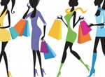 Fashion Girls Shopping Vector Illustration
