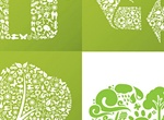 4 Green Eco Friendly Collage Vector Symbols