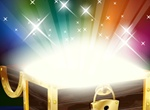 Sparkling Rays Treasure Chest Vector Graphic