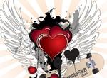 Heraldic Hearts Wings Splatter Vector