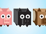 3 Square 3D Piggy Boxes Vector Set