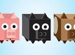 3 Square 3D Piggy Boxes Vector Set