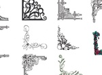 11 Ornate Frame Corner Flourishes Vector Set