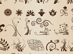 Floral Flourish Vector Elements Set