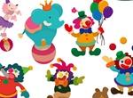 Cartoon Circus Clown & Animal Acts