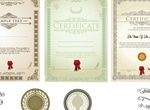 4 Vintage Vector Certificates And Diplomas Set