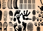 Hand Foot Tire Track Prints Vector Set