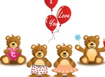 Teddies Love Vector Family Set