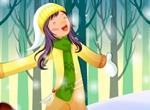 Singing Girl Snowy Winter Vector