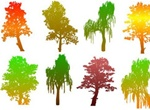 8 Colorful Autumn Tree Silhouettes