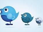 3 Cute Social Twitter Birds Vector Set
