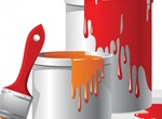 2 Vector Spilled Paint Cans With Brush