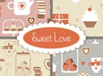 Sweet Love Vector Desserts & Treats Elements Set