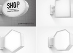 4 Wall Light Box Signs Vector Set