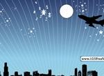 Night City Skyline Jet Silhouette Vector