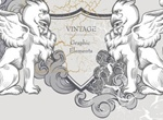 Detailed Lion Shield Heraldry Vector