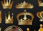 Golden Royal Crown Vector Set