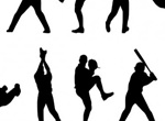 10 Action Baseball Players Vector Silhouettes
